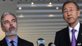 Patriota e Ban Ki-moon em Brasília (AP)