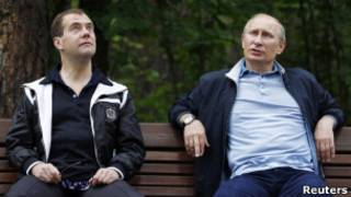 """Медведев и Путин в загородной резиденции """"Горки"""""""