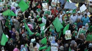 مظاهرة مؤيدة للقذافي في طرابلس قبل سقوط نظام الزعيم الليبي