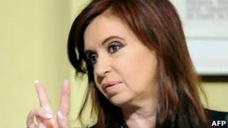 Cristina, durante o anúncio de sua candidatura (AFP)