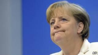 Chanceler Angela Merkel, da Alemanha, sobre a crise grega. AP