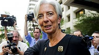 Christine Lagarde na sede do FMI em Washington (AFP)