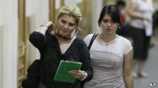 Супруга Михаила Ходорковского Инна (слева) и дочь Анастасия