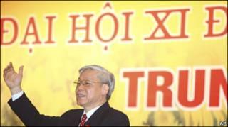 Ông Nguyễn Phú Trọng tại Đại hội Đảng hồi đầu năm nay