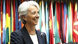 Christine Lagarde em seu primeiro dia de trabalho no FMI, em Washington (Reuters)