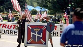 Manifestacion de Nación Aria en Estados Unidos.