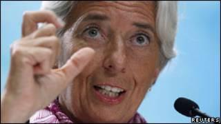 Lagarde, na sede do FMI, em Washington. Reuters