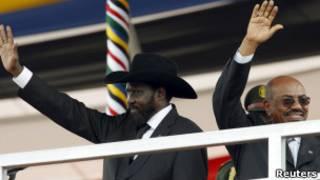 البشير وكير خلال احتفالات الجنوب بالدولة الجديدة