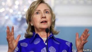 Hillary Clinton, em discurso nesta segunda-feira
