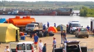 "Лагерь спасателей на месте гибели судна ""Булгария"""