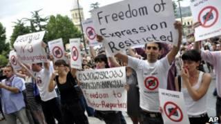 Протесты против арестов фоторепортеров в Тбилиси