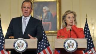Сергей Лавров и Хиллари Клинтон на пресс-конференции в Вашингтоне