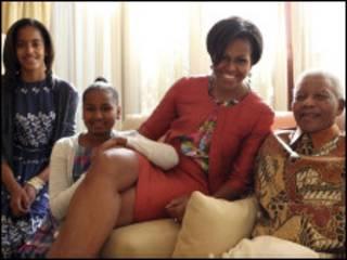 Mandela na familia ya Obama