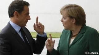 Ангела Меркель и Николя Саркози накануне встречи в Брюсселе