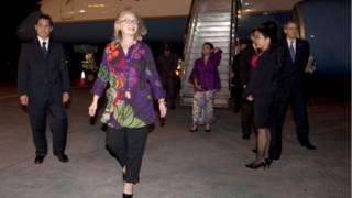 Hillary Clinton tiba di Bali.