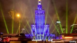 Лазерное шоу в Варшаве