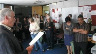 خبرنگاران و مدیران بخش جهانی بی بی سی در بوش هاوس
