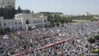 Protesto antigoverno na Síria, em julho
