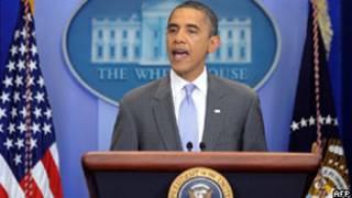 Obama faz o anúncio do acordo em Washington (AFP)