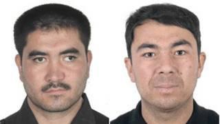 喀什通缉买买提艾力·提力瓦尔地(左)和吐逊·艾山