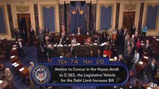 Imagem cedida pelo Senado mostra momento em que Cassa aprovou plano da dívida