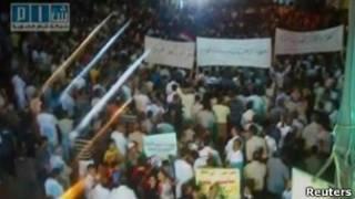 تظاهرات در منطقه الرستن در نزدیکی حمص