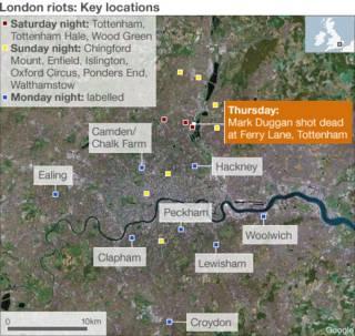 Các khu vực xảy ra bất ổn sau ba đêm liên tục tại London