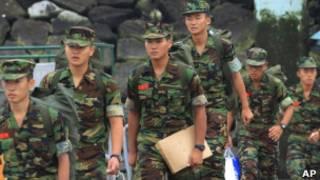 黃海島嶼上的韓國士兵