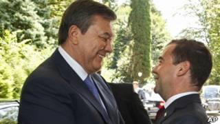 Президенты Дмитрий Медведев и Виктор Янукович в Сочи 11 августа 2011 г.