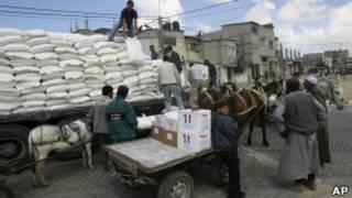 توزيع المساعدات الانسانية في غزة