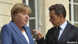 Nicolas Sarkozy, da França, e Angela Merkel, da Alemanha. Reuters