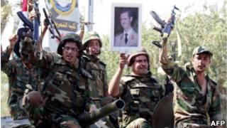 Soldados do Exército sirio. AFP