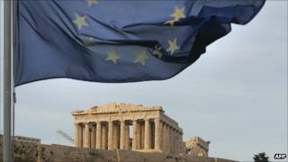 El Partenón y la bandera de la Unión Europea