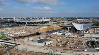 O parque olímpico de Londres, ainda na fase de construção (Arquivo/BBC)