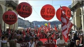 مظاهرة في إيطاليا ضد ميزانية التقشف