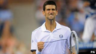 Новак Джокович в поединке с Рафаэлем Надалем на US Open