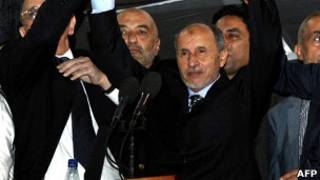 Mustafa Abdul Jalil em discurso. Foto: AFP