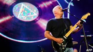 David Gilmour em show dio Pink Floyd em 2005. Foto: AFP
