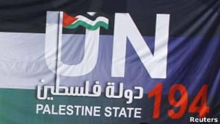 Pancarta en apoyo al estado palestino