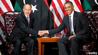 باراك أوباما ومصطفى عبد الجليل