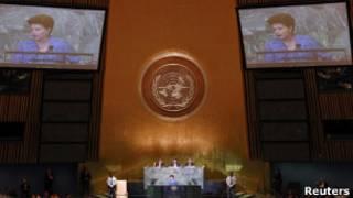 Dilma em discurso na Assembleia Geral da ONU, nesta quarta (Reuters)