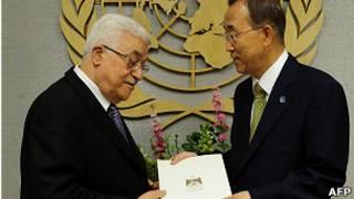 عباس يسلم خطاب طلب العضوية إلى بان كي مون