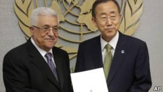 巴勒斯坦總統阿巴斯和聯合國秘書長潘基文