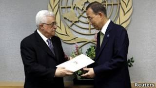 Пан Ги Мун получает заявку от Махмуда Аббаса
