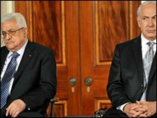 بنیامین نتنیاهو او محمود عباس