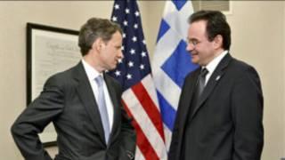Bộ trưởng tài chính Hy Lạp Evangelos Venizelos gặp người đồng cấp Mỹ Timothy Geithner