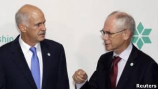 Premiê grego e presidente do Conselho Europeu Foto: Reuters