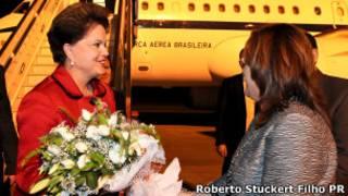 Dilma, ao desembarcar na Turquia (Foto: Roberto Stuckert Filho - Presidência_