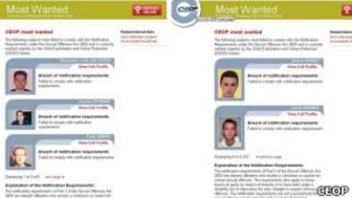 Страница британского сайта с информацией о числящихся в розыске педофилах