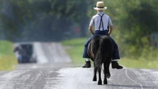Мальчик, член общины амишей, едет верхом на пони